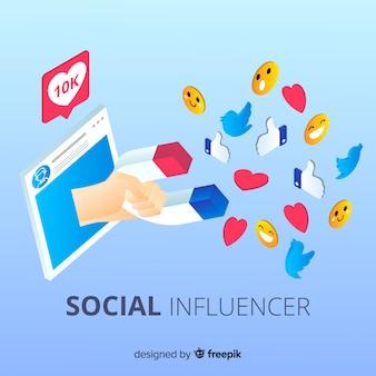 Magnet sozialer influencer-hintergrund