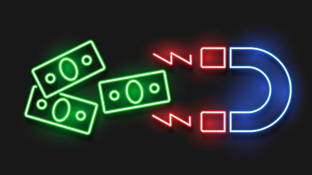 Magnet und geld im neoneffektstil.