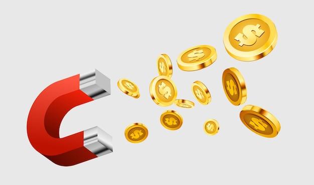 Magnet zieht geld an. das konzept des investierens.