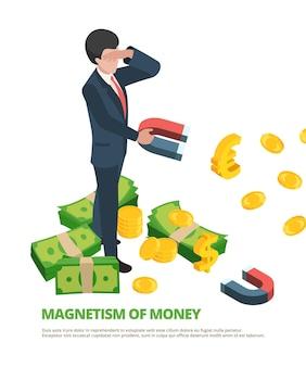 Magnetgeld. isometrisches konzept des geschäftsanschluss-finanzdollar-magnetismus.