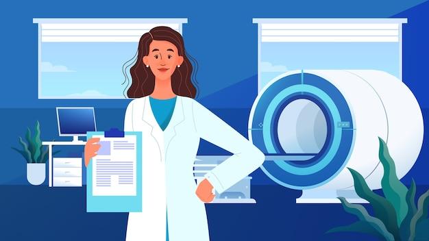 Magnetresonanztomographie. medizinische forschung und diagnose. moderner tomographiescanner. mrt klinik klinik banner oder website header, banner idee.