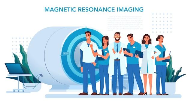 Magnetresonanztomographie. medizinische forschung und diagnose. moderner tomographiescanner. werbebanner der mrt-klinik oder website-header-idee.