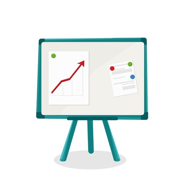 Magnettafel für business und studium. vektor-cartoon-illustration.