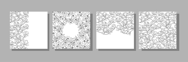 Magnolia und cherry cover-vorlagen für grußkarten