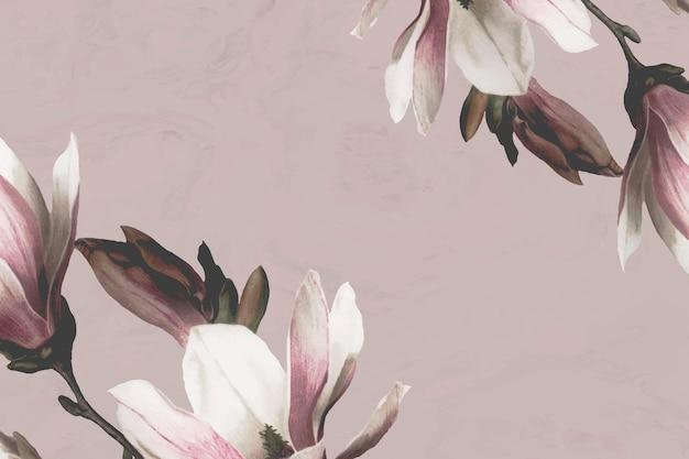 Magnolienbordüre auf beigem hintergrund