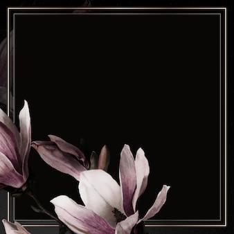 Magnolienrandrahmen auf schwarzem hintergrund