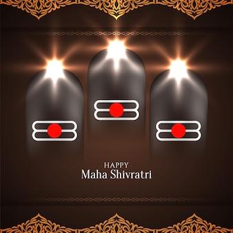 Maha shivratri festival grußkarte mit hellen glänzenden dekorationen, lichtern und fenstern