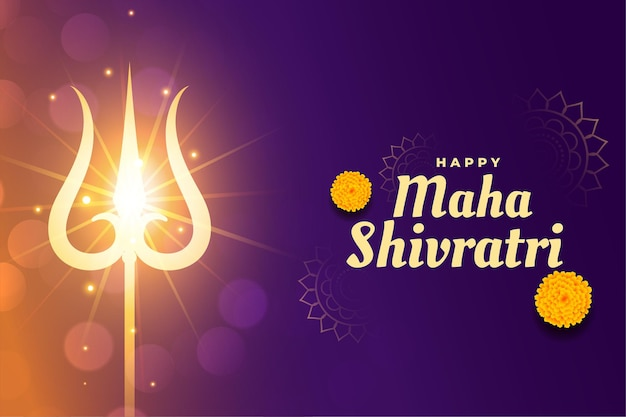 Maha shivratri hintergrund mit leuchtendem trishul