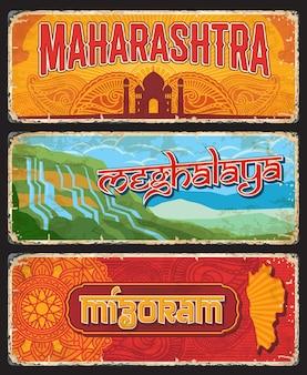 Maharashtra, meghalaya und mizoram indian states vintage teller oder banner. vektorreiseziel gealterte zeichen, indien-wahrzeichen. retro-grunge-boards, abgenutzte touristische schilder mit ornamenten