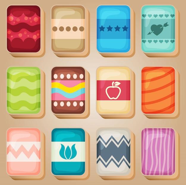 Mahjong cards line set-1 in verschiedenen farben.