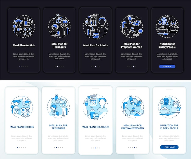 Mahlzeitenplan für altersgruppen tag und nacht beim onboarding der mobilen app-seite. walkthrough 5 schritte grafische anweisungen mit konzepten. ui-, ux-, gui-vektorvorlage mit linearen nacht- und tagmodus-illustrationen