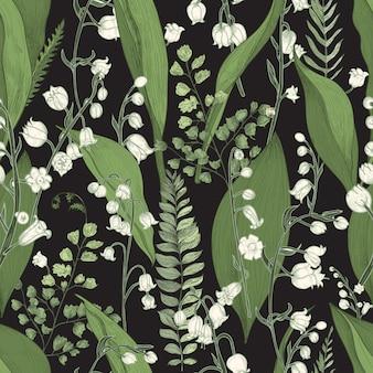 Maiglöckchen mit nahtlosem farnmuster. hand gezeichnete textur mit blumen, knospen, blättern und stielen.