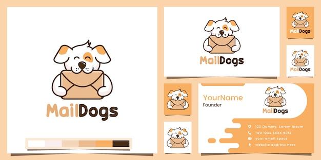 Mail dog cartoon version logo design inspiration