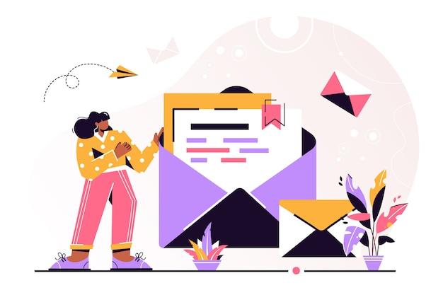 Mail halten. chatten, illustration der geschäftsfrau