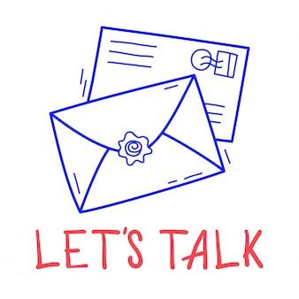 Mail-ikone des handabgehobenen betrages zwei in der gekritzelart mit beschriftung.