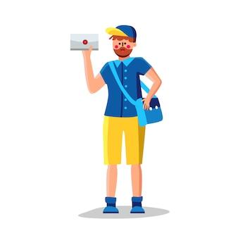 Mail man with mailbag zustellbrief