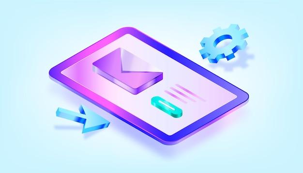 Mail-service-konzept. isometrische illustration mit 3d-verlauf