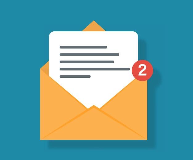 Mail-symbol mit benachrichtigung. symbol für zwei neue nachrichten mit benachrichtigung. eingehende e-mail. empfangen von nachrichten.