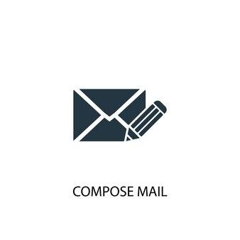 Mail-symbol verfassen. einfache elementabbildung. verfassen von mail-konzept-symbol-design. kann für web und mobile verwendet werden.