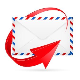 Mail-umschlag mit rotem pfeil herum
