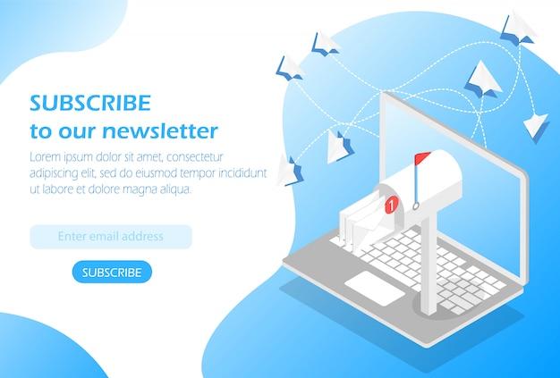 Mailbox im laptop. abonniere unseren newsletter