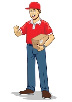 Mailman bringt eine schachtel mit paket
