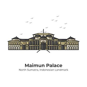 Maimun palace indonesian landmark line cartoon illustration