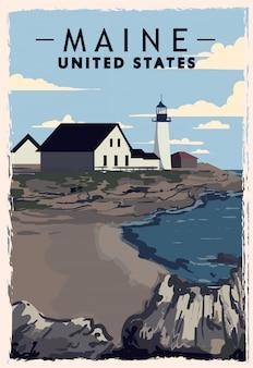 Maine retro poster. usa maine reiseillustration. vereinigte staaten von amerika