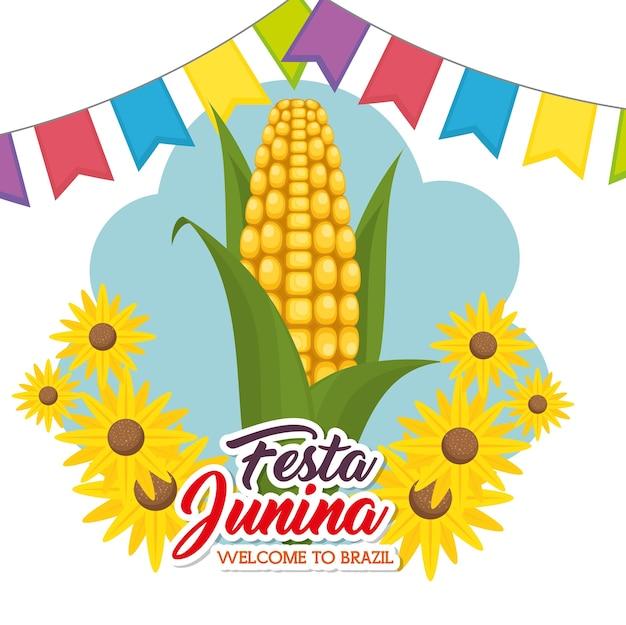 Mais und sonnenblumen mit bunter fahne und festa junina unterzeichnen vorbei weißen hintergrundvektor illustra