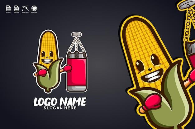 Maisboxen niedliches maskottchen-charakter-logo-design
