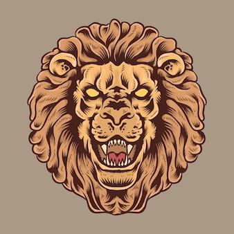 Majestätische löwenkopfillustration