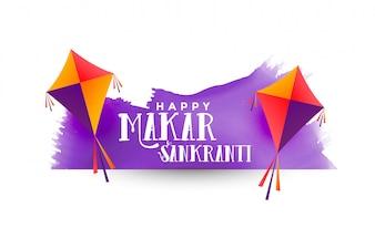 Makar Sankranti Hintergrund mit Drachen