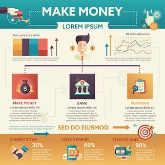 Make money - info-poster, layout der broschüren-cover-vorlage mit symbolen, anderen infografik-elementen und fülltext