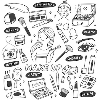 Make-up artist equipments im doodle-stil