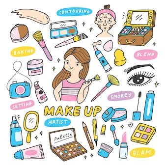 Make up artist equipments im doodle-stil