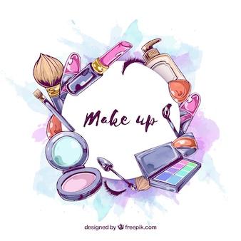 Make-up hintergrund im aquarell-stil