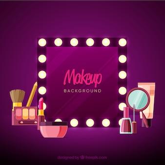 Make-up hintergrund mit spiegel