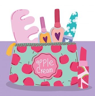 Make-up kosmetik produkt mode schönheit maniküre und pediküre tasche und lippenstift illustration