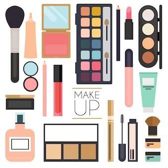 Make-up-kosmetik und pinsel auf weißem hintergrund.