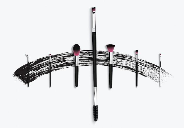 Make-up kosmetische mascara pinsel mit pinselstrich.