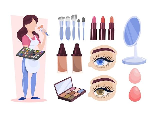 Make-up-künstler stehend und hält palette und kosmetik