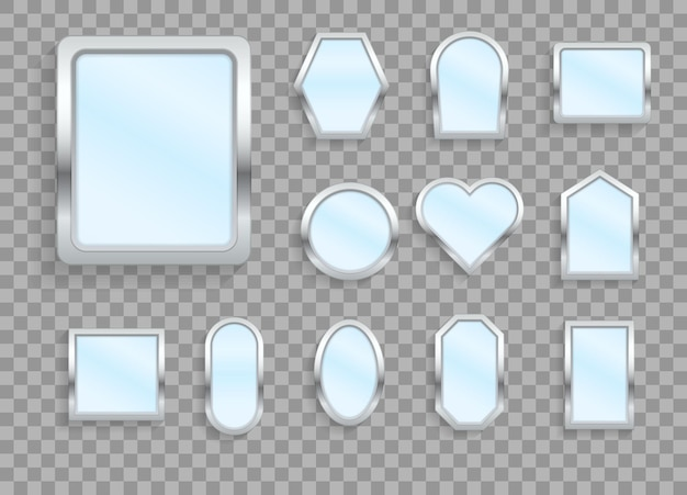 Make-up oder innenmöbel reflektieren glasoberflächen 3d-symbole