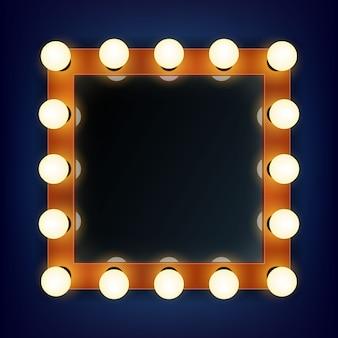 Make-up-rahmen mit licht in einem außenspiegel