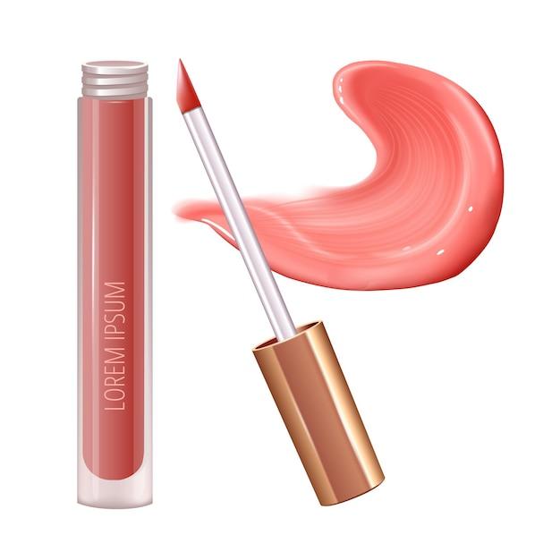 Make-up-set für die lippen mit realistischem creme-abstrich, realistischem flüssigem lippenstift