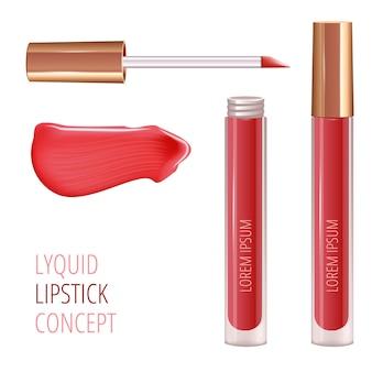 Make-up-set für die lippen mit realistischem creme-abstrich und realistischem flüssigem lippenstift.