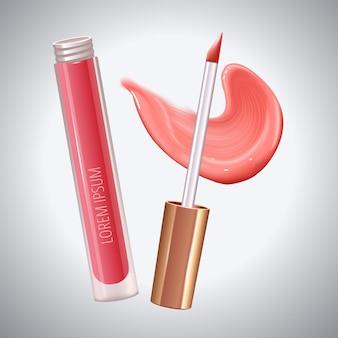 Make-up-set für die lippen mit realistischem cremeabstrich