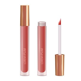 Make-up-set für die lippen mit realistischem flüssigem lippenstift.