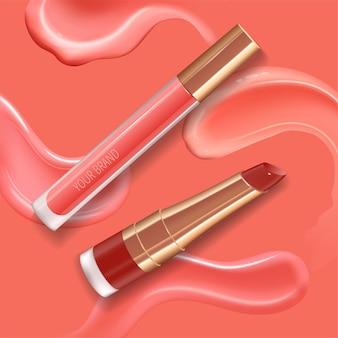 Make-up-set für lippen mit realistischem creme-abstrich, realistisch glänzenden, lächelnden lippen und flüssigem lippenstift.