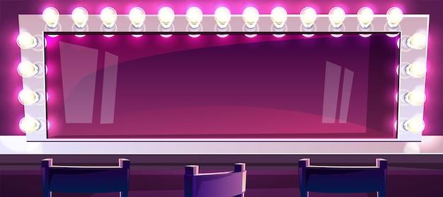 Make-upspiegel mit lampenillustration des schauspieler- oder sängerschönheitsmode-studioraumes