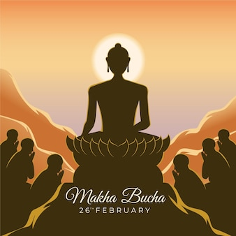 Makha bucha tag illustration